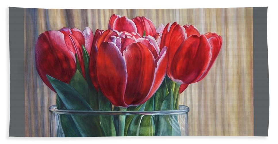 Watercolor Hand Towel featuring the painting Red Tulips, Glass Rim by Rosanne Wolfe
