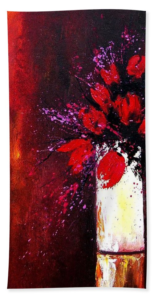 Flowers Bath Towel featuring the painting Red Tulips by Pol Ledent