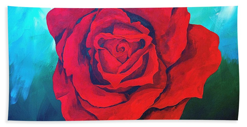 Red Rose Deep Red Rose 3d Ice Rose Hand Towel featuring the painting Red Velvet by Herschel Fall