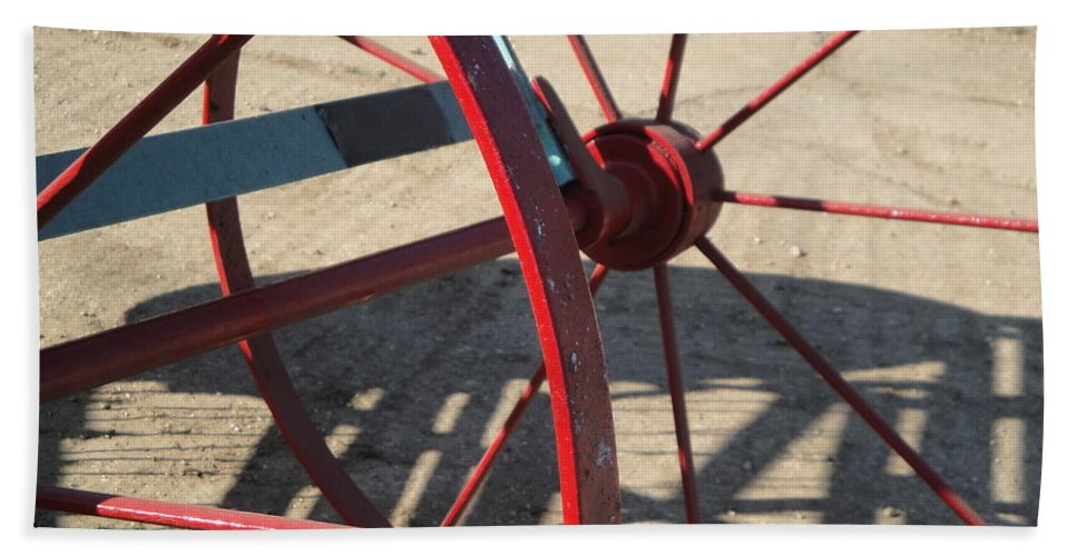 Wheel Hand Towel featuring the photograph Red Waggon Wheel by Susan Baker