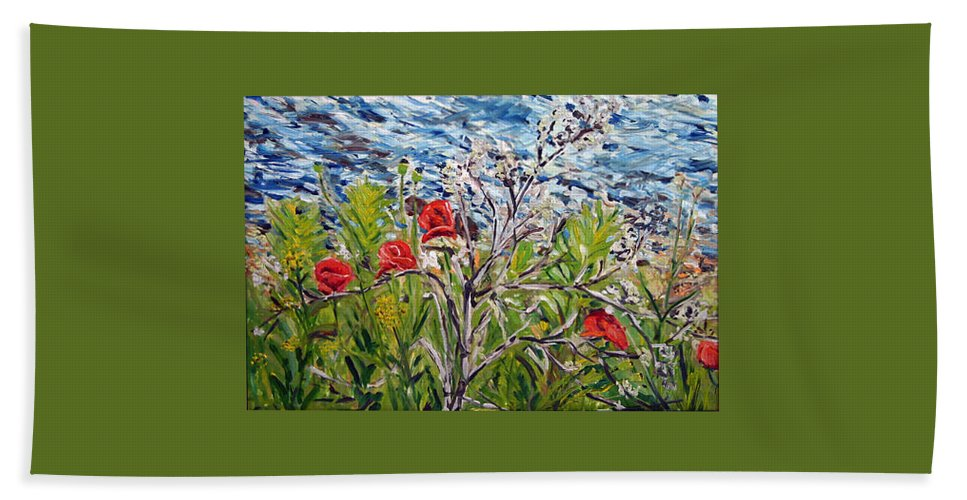 Landscape Bath Towel featuring the painting Red-weed - All by Pablo de Choros