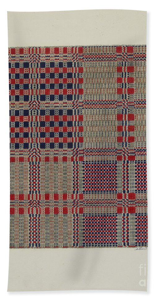 Hand Towel featuring the drawing Red, White & Blue Coverlet by Arthur G. Merkley