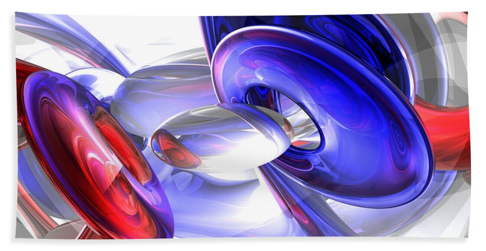 3d Hand Towel featuring the digital art Red White And Blue Abstract by Alexander Butler