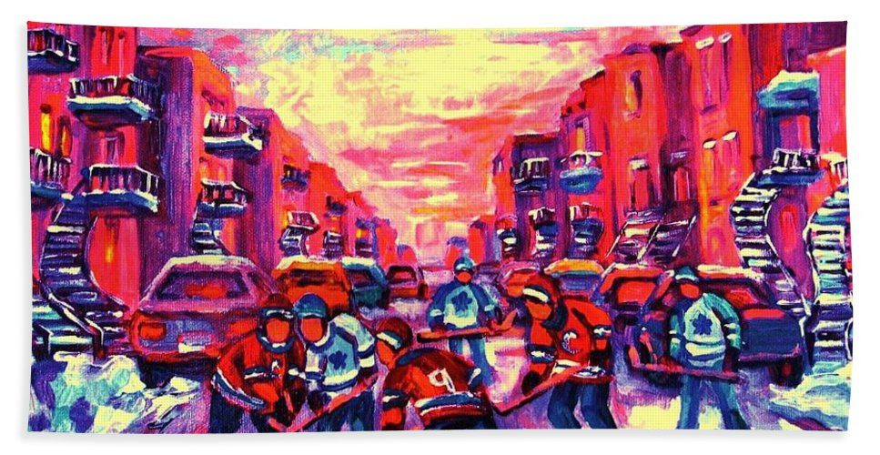 Hockey Game Hand Towel featuring the painting Red White And Blue by Carole Spandau
