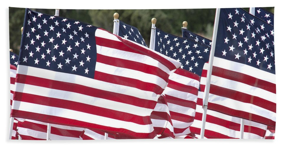 Flag Hand Towel featuring the photograph Red White And Blue by Jerry McElroy