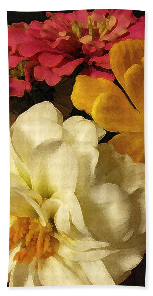 Flowers Hand Towel featuring the photograph Red White And Yellow Zinnias by Ed A Gage