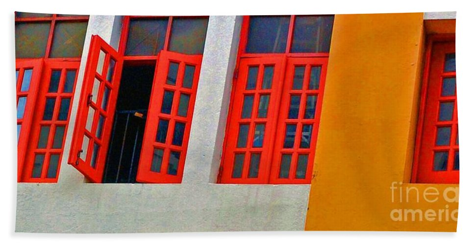 Windows Bath Towel featuring the photograph Red Windows by Debbi Granruth