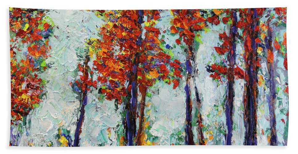 Palette Knife Bath Sheet featuring the painting Red Woods by Shannon Grissom