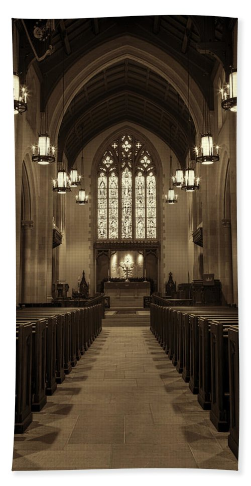Abilene Bath Sheet featuring the photograph Redemption - Church Of Heavenly Rest #3 by Stephen Stookey