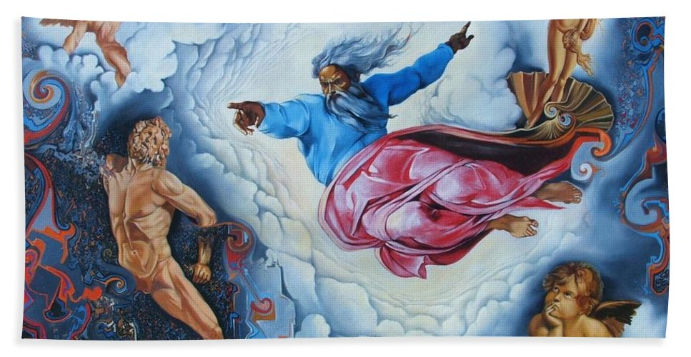 Surrealism Bath Sheet featuring the painting Redemption by Darwin Leon