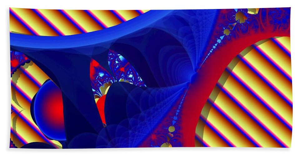 Fractal Image Hand Towel featuring the digital art Reds And Blues by Ron Bissett