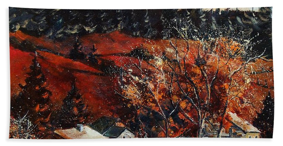Tree Hand Towel featuring the painting Redu Village Belgium by Pol Ledent