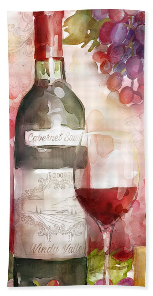 Red Wine Hand Towel featuring the painting Redwinewatercolor by Mauro DeVereaux