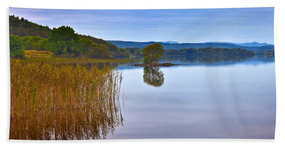 Photography Bath Sheet featuring the photograph Reeds And An Islet In Lough Macnean by Panoramic Images