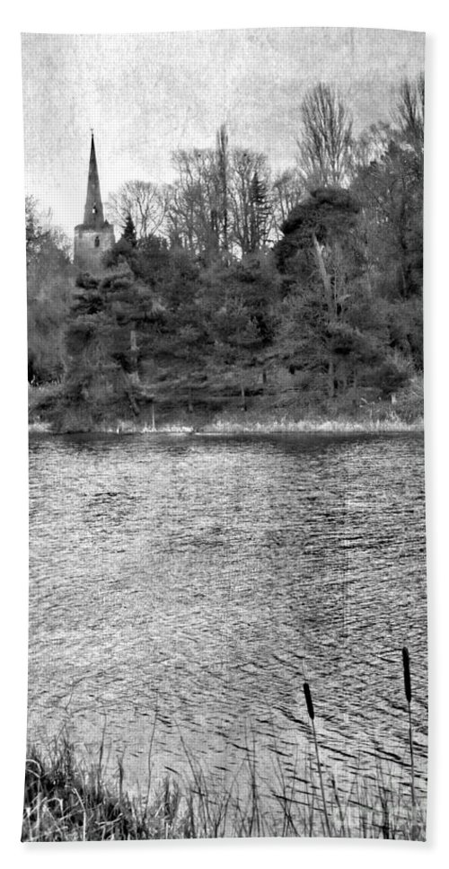 Mono Hand Towel featuring the photograph Reeds And Religion Black And White by Linsey Williams