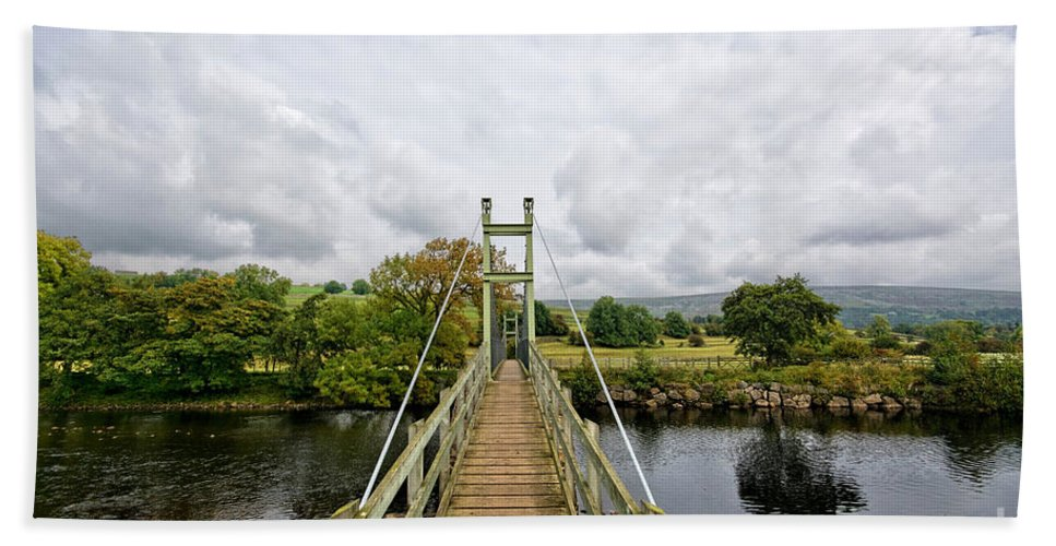 Reeth Swing Bridge Hand Towel featuring the photograph Reeth Swing Bridge by Smart Aviation