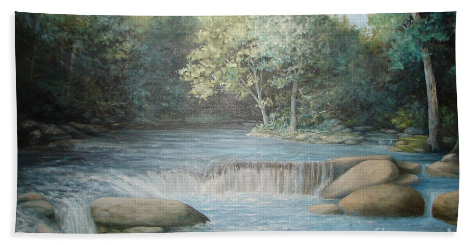 Running Water Bath Sheet featuring the painting Reflected Blue by Penny Neimiller