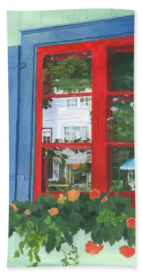 Window Hand Towel featuring the painting Reflecting Panes by Lynne Reichhart