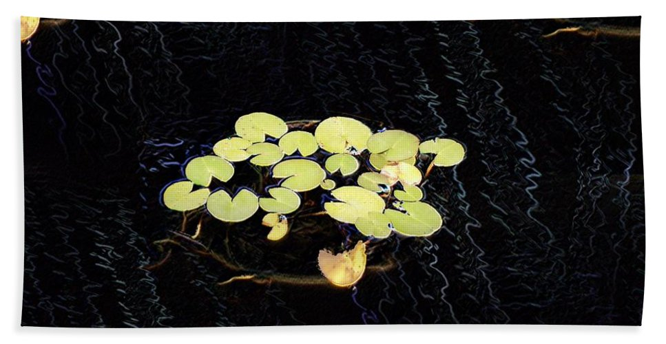 Lillies Hand Towel featuring the digital art Reflecting Pool Lilies by Tim Allen