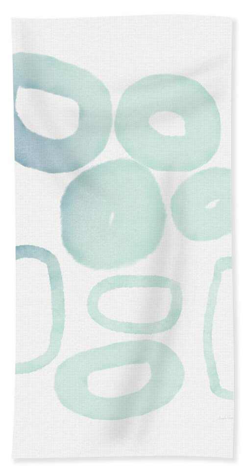 Circles Hand Towel featuring the mixed media Reflecting Pools- Art By Linda Woods by Linda Woods