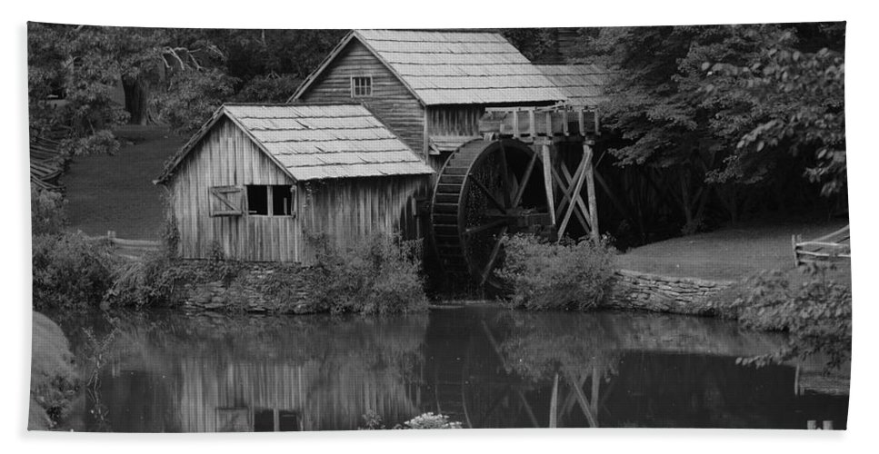 Mabry Mill Hand Towel featuring the photograph Reflecting The Mill by Eric Liller