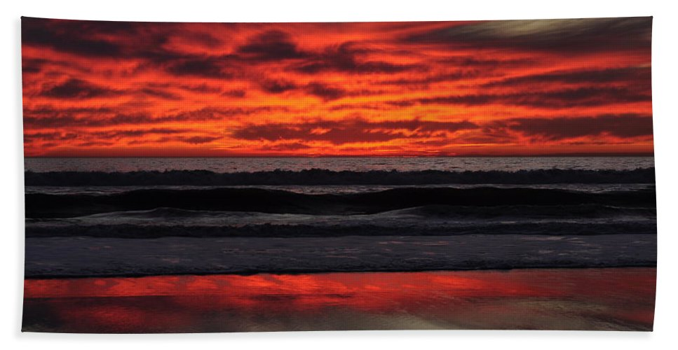 Sunset Hand Towel featuring the photograph Reflection by Bridgette Gomes