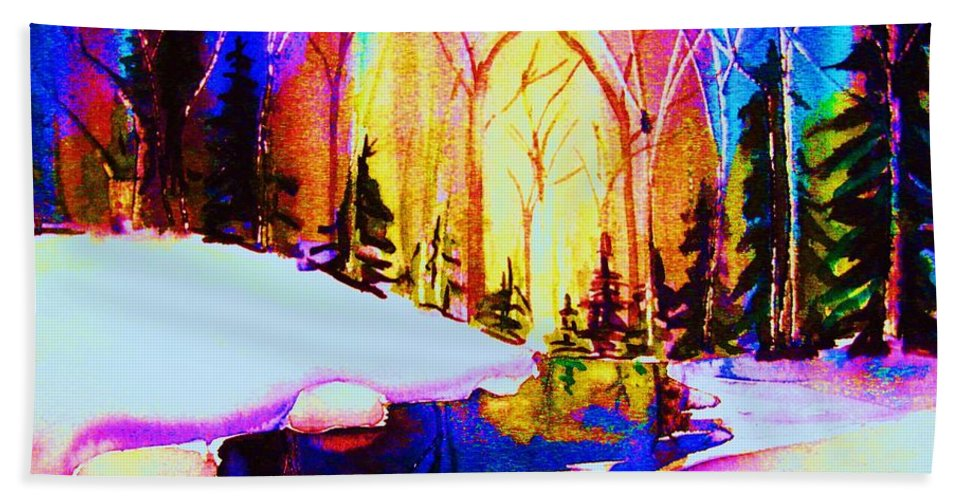 Reflections Bath Towel featuring the painting Reflection by Carole Spandau