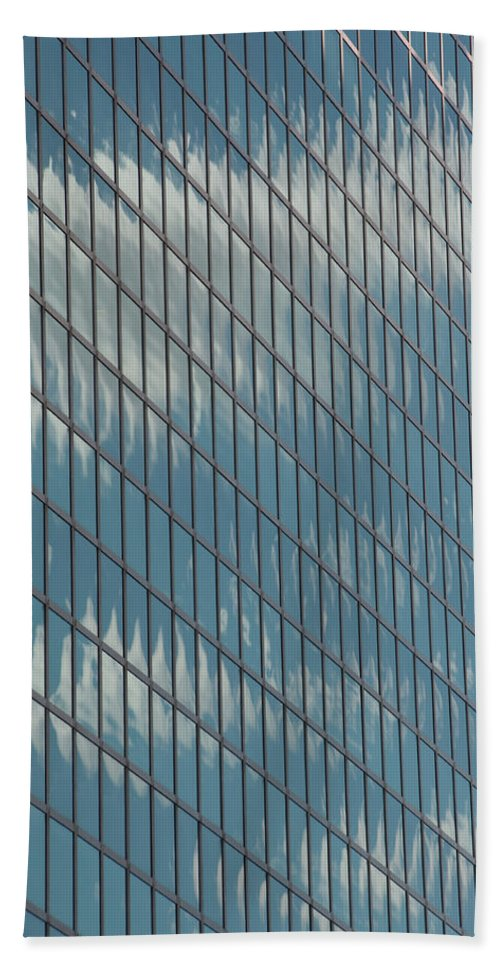 Photography Bath Sheet featuring the photograph Reflection Clouds On Building by Steven Natanson