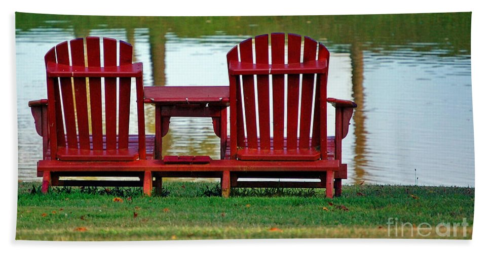 Chairs Hand Towel featuring the photograph Reflection by Debbi Granruth