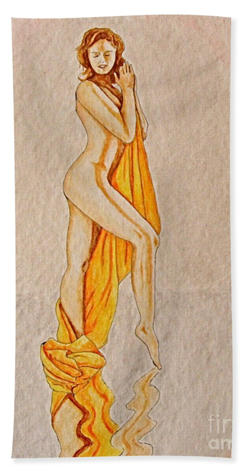 Nude Bath Towel featuring the painting Reflection by Herschel Fall