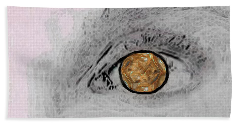 Eye Hand Towel featuring the digital art Reflection In A Golden Eye by RC DeWinter