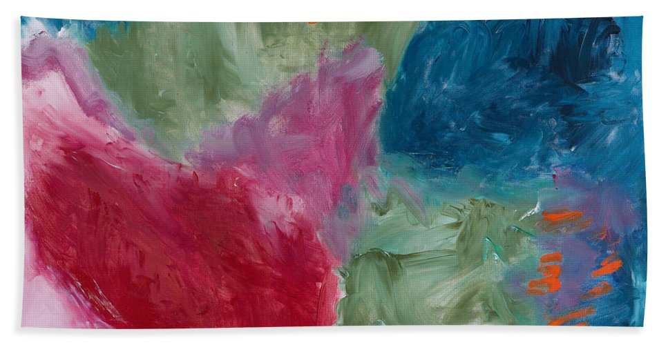 Abstract Bath Sheet featuring the painting Reflection by Noa Yerushalmi