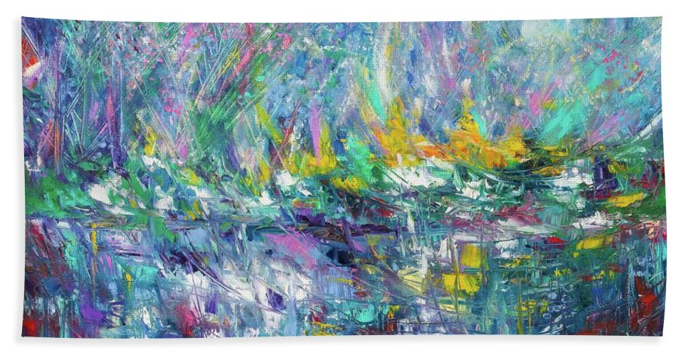 Art Hand Towel featuring the painting Reflection by Nutthawee Charusrisith