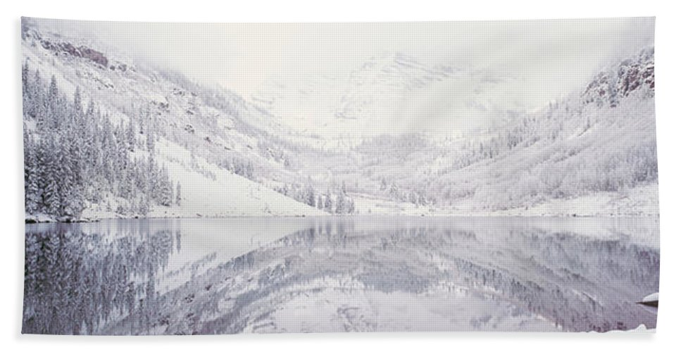 Photography Bath Sheet featuring the photograph Reflection Of Snowcapped Mountains by Panoramic Images