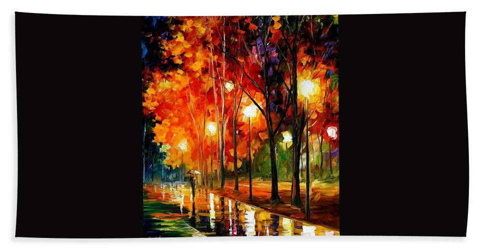 Landscape Bath Towel featuring the painting Reflection Of The Night by Leonid Afremov