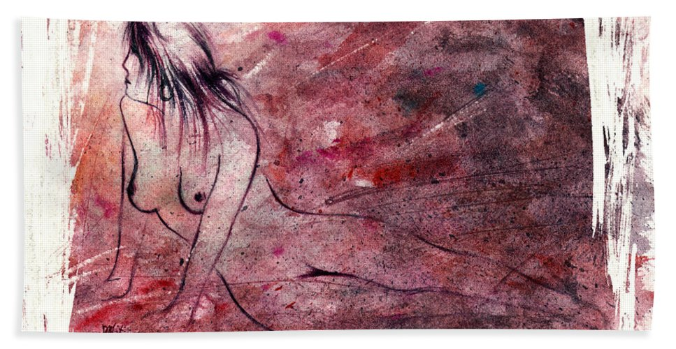 Nude Hand Towel featuring the painting Reflection by Rachel Christine Nowicki