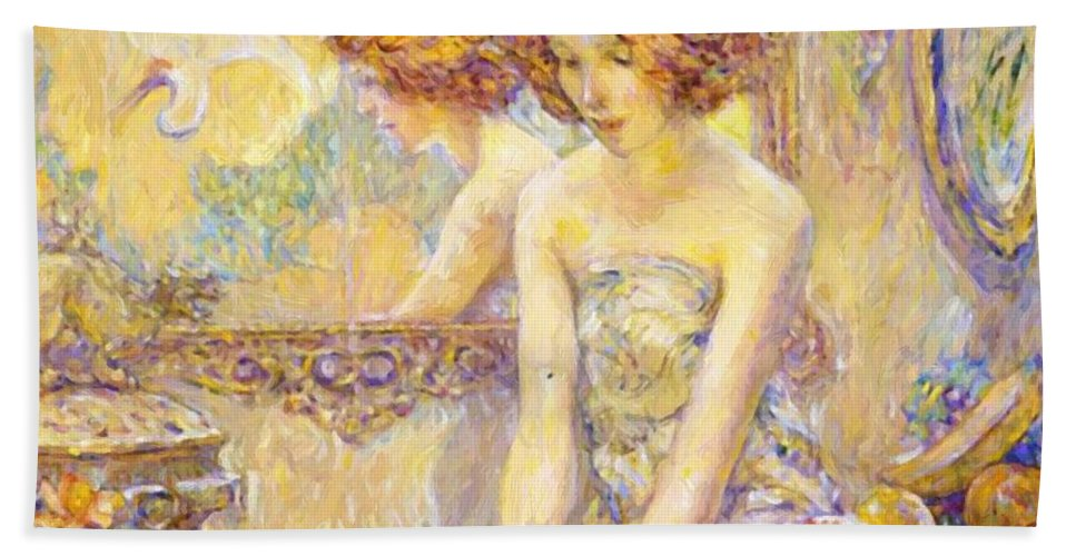 Reflections Hand Towel featuring the painting Reflections 1911 by Reid Robert Lewis