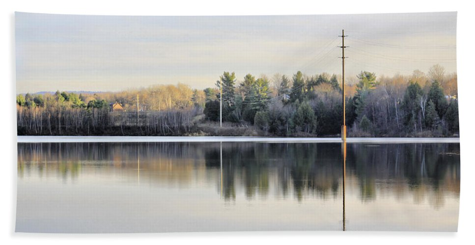 Water Bath Towel featuring the photograph Reflections Across The Water by Deborah Benoit
