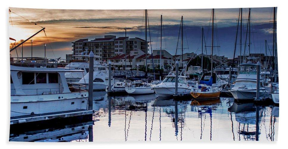 Reflections At Sunset Bath Sheet featuring the photograph Reflections At Sunset by Mechala Matthews