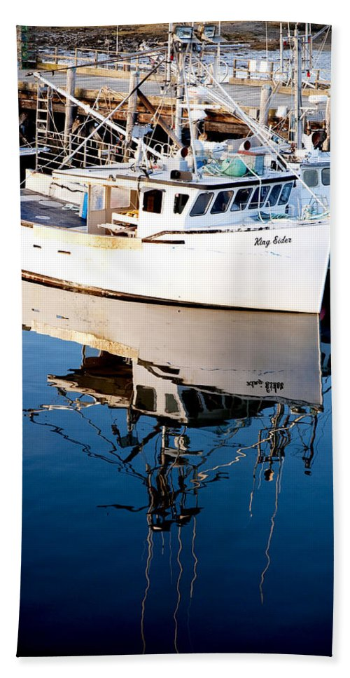 Boat Hand Towel featuring the photograph Reflections by Greg Fortier