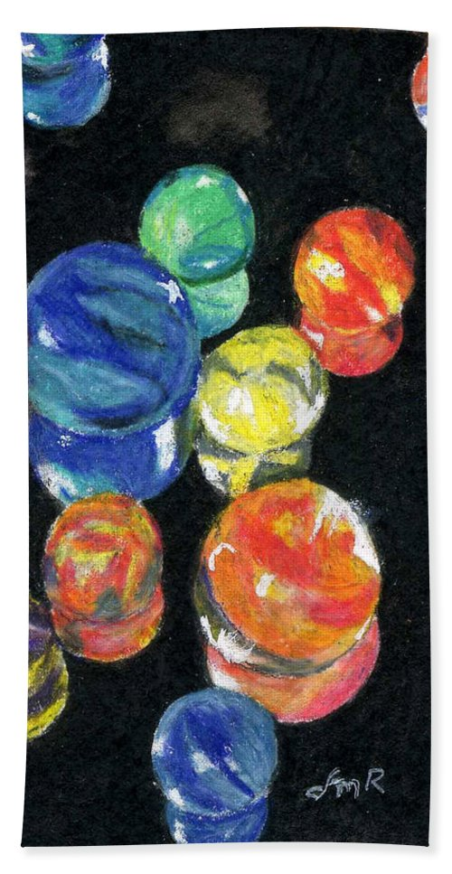 Watercolor Hand Towel featuring the painting Reflections In Black by Lynne Reichhart