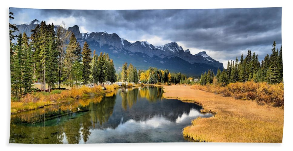 Canmore Hand Towel featuring the photograph Reflections In Canmore by Tara Turner