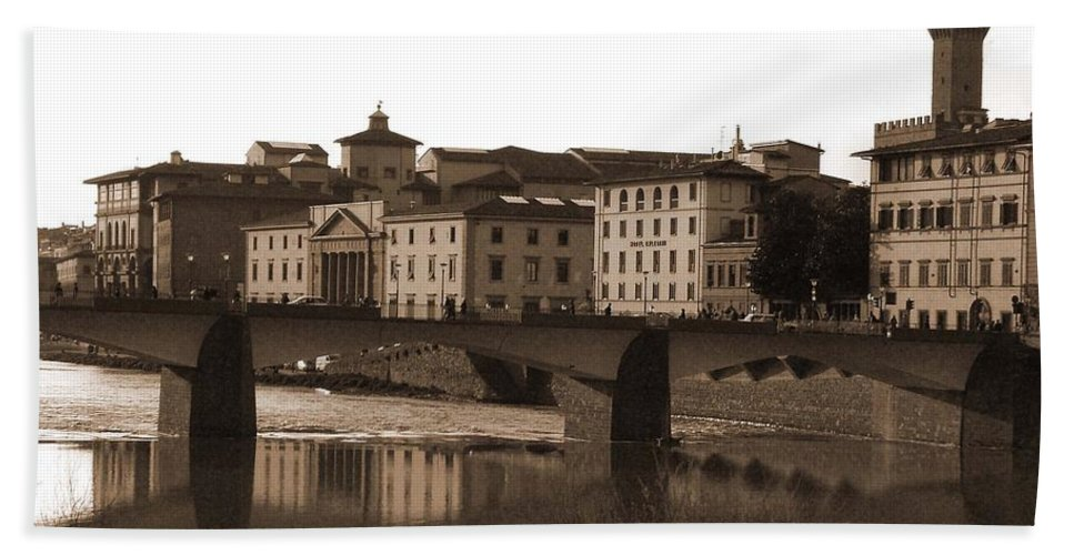 Sepia Bath Sheet featuring the photograph Reflections Of Florence by Donna Corless