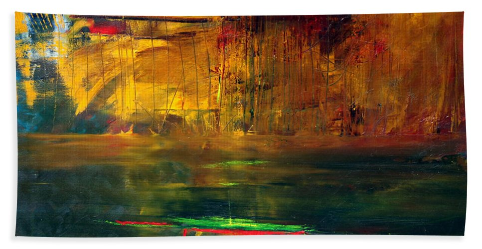 New York City Reflection Red Yellow Blue Green Bath Sheet featuring the painting Reflections Of New York by Jack Diamond