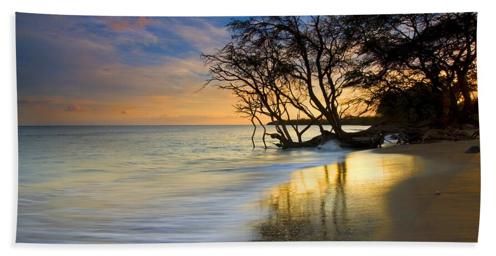 Waves Hand Towel featuring the photograph Reflections Of Paradise by Mike Dawson