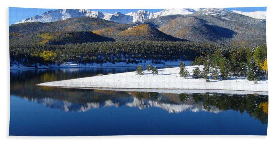 Landscape Hand Towel featuring the photograph Reflections Of Pikes Peak In Crystal Reservoir by Carol Milisen