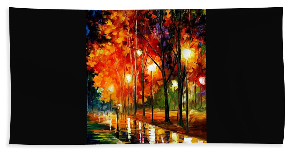 Afremov Bath Sheet featuring the painting Reflections Of The Night by Leonid Afremov