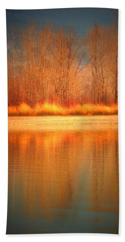 Okanagan Hand Towel featuring the photograph Reflections On Fire by Tara Turner