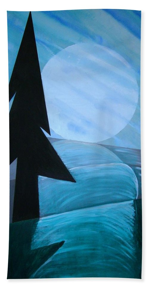 Phases Of The Moon Hand Towel featuring the painting Reflections On The Day by J R Seymour