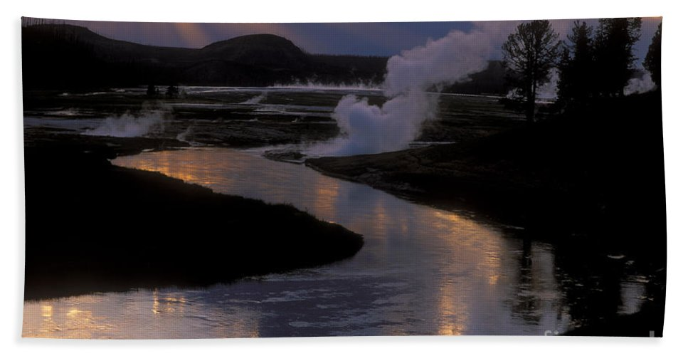 Yellowstone National Park Hand Towel featuring the photograph Reflections On The Firehole River by Sandra Bronstein